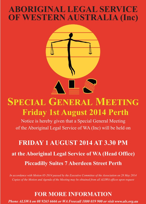 Special General Meeting 1st August 2014